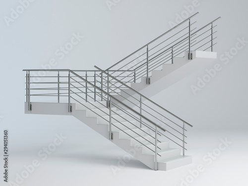 Canvas Stairs and stainless steel railing v2, 3D illustration