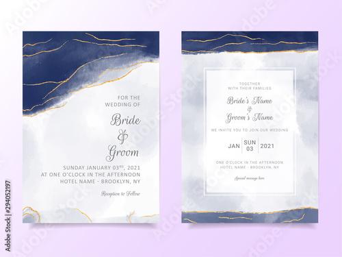 Navy blue watercolor wedding invitation card template Canvas Print