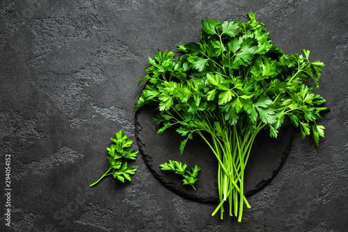 Fototapeta Fresh parsley bunch, top view obraz
