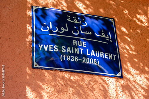 Street sign with text Rue Yves Saint Laurent, street name in Marrakech, Morocco Wallpaper Mural