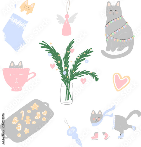 Fototapety, obrazy: Vector illustration of cute Christmas cats, cookies and winter elements. Cat in socks, with garland, ice skating. Isolated flat objects. Design concept for holidays, winter and New Year.