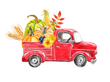 Watercolor Autumn Harvest Truck. Hand Painted Red Vintage Car With Orange Pumpkins, Wheat, Corn, Pear, Flowers And Leaves, Isolated On White Background. Fall Seasonal Vegetables.