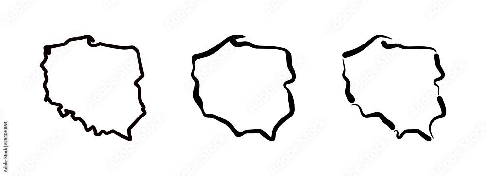 Fototapeta Mapa Polski - kontury