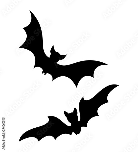 halloween flying bats silhouette isolated on white background Canvas Print