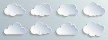 Set Paper White Clouds – Vector For Stock