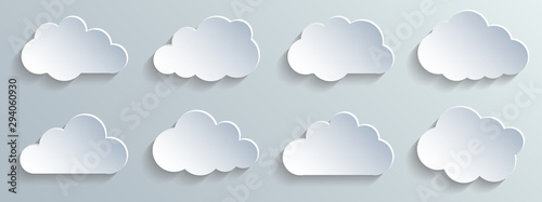Obraz Set paper white clouds – vector for stock - fototapety do salonu