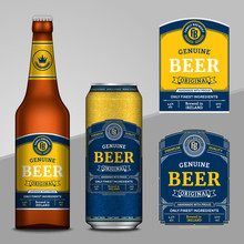 Vector Blue And Yellow Beer Labels. Realistic Aluminum Can And Glass Bottle Mockups. Brewing Company Branding And Identity Design Elements