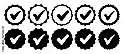 Photo Approval check icon isolated, set quality sign, tick – for stock