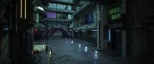 Street Of A Futuristic City. Photorealistic 3D Illustration. Night Scene With Neon Lighting. Dark Urban Landscape. Cityscape In The Style Of Cyberpunk.