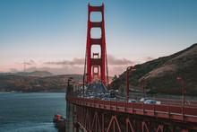 Beautiful View Of The San Francisco Golden Gate Bridge At Dawn.