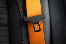 Part Of Orange  Leather Car Seat Details