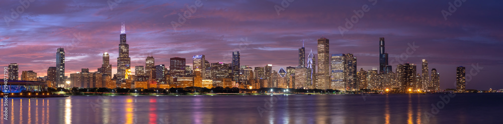 Fototapeta Chicago downtown buildings skyline panorama