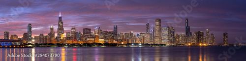 Obraz Chicago downtown buildings skyline panorama - fototapety do salonu