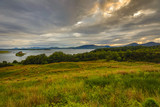 Ancient Scottish medieval buildings and beautiful landscape of traditional nature.