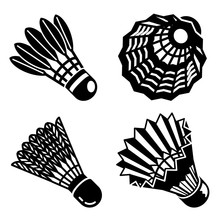 Shuttlecock Icons Set. Simple Set Of Shuttlecock Vector Icons For Web Design On White Background