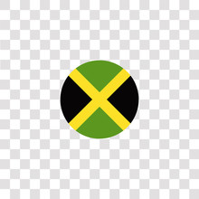 Jamaica Icon Sign And Symbol. Jamaica Color Icon For Website Design And Mobile App Development. Simple Element From Countrys Flags Collection Isolated On Black Background.