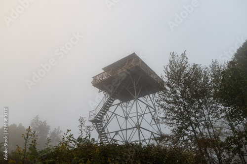 Photo Foggy Morning at Rich Mountain Fire Lookout Tower on the Appalachian Trail