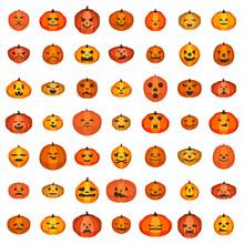 Pumpkin Icons Set. Isometric S...