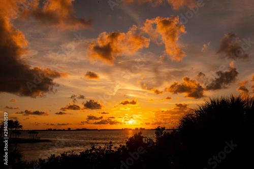 Sunset at the beach, ocean, beautiful skies