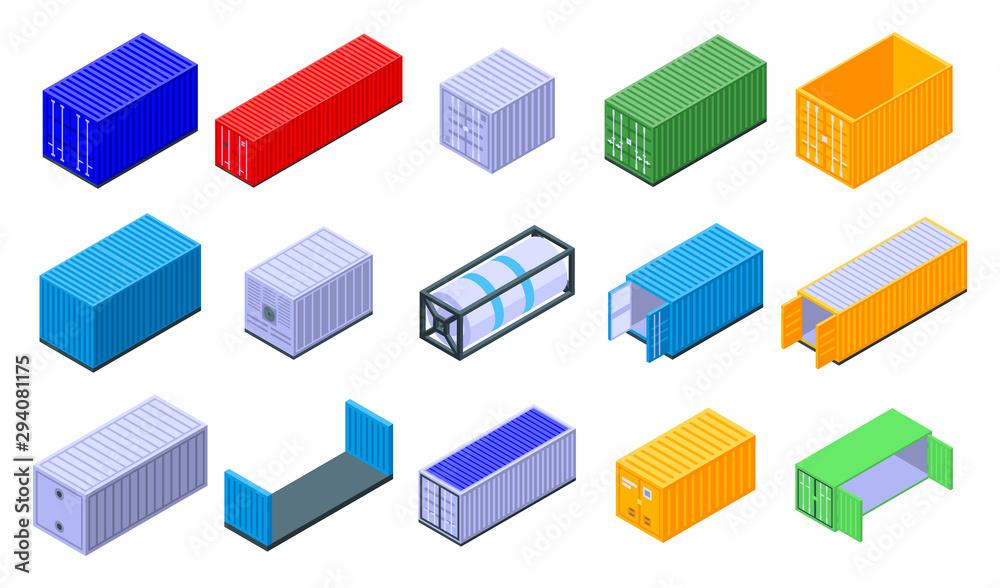 Fotografie, Obraz Cargo container icons set