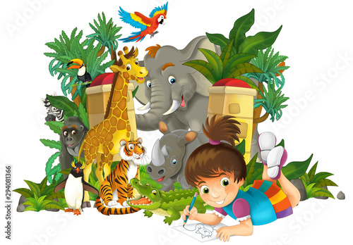 Cartoon zoo scene near the entrance with different animals and kid - amusement park - illustration for children