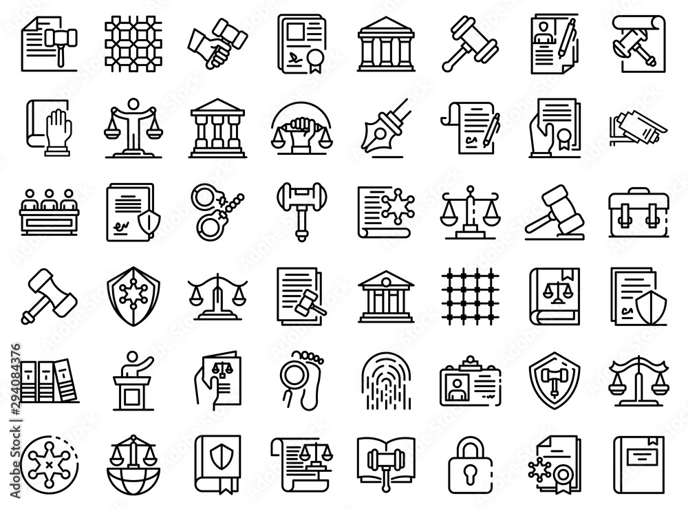 Fototapeta Justice icons set. Outline set of justice vector icons for web design isolated on white background