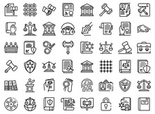 Justice Icons Set. Outline Set Of Justice Vector Icons For Web Design Isolated On White Background