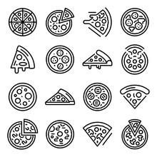 Pizza Icons Set. Outline Set Of Pizza Vector Icons For Web Design Isolated On White Background