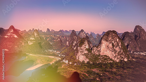 Sunrise scenic view from Laozhai Shan Mountain, near Xingping, Yangshuo, Guangxi Canvas Print