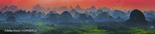 Sunset scenic view at Yangshuo, Guangxi, China. Wallpaper Mural
