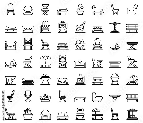 Photo Garden furniture icons set