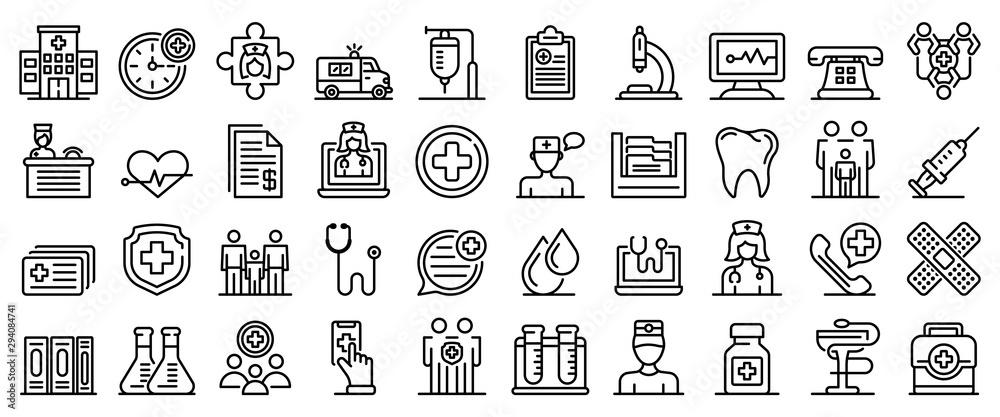 Fototapeta Family health clinic icons set. Outline set of family health clinic vector icons for web design isolated on white background