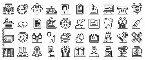 Cuadros en Lienzo Family health clinic icons set