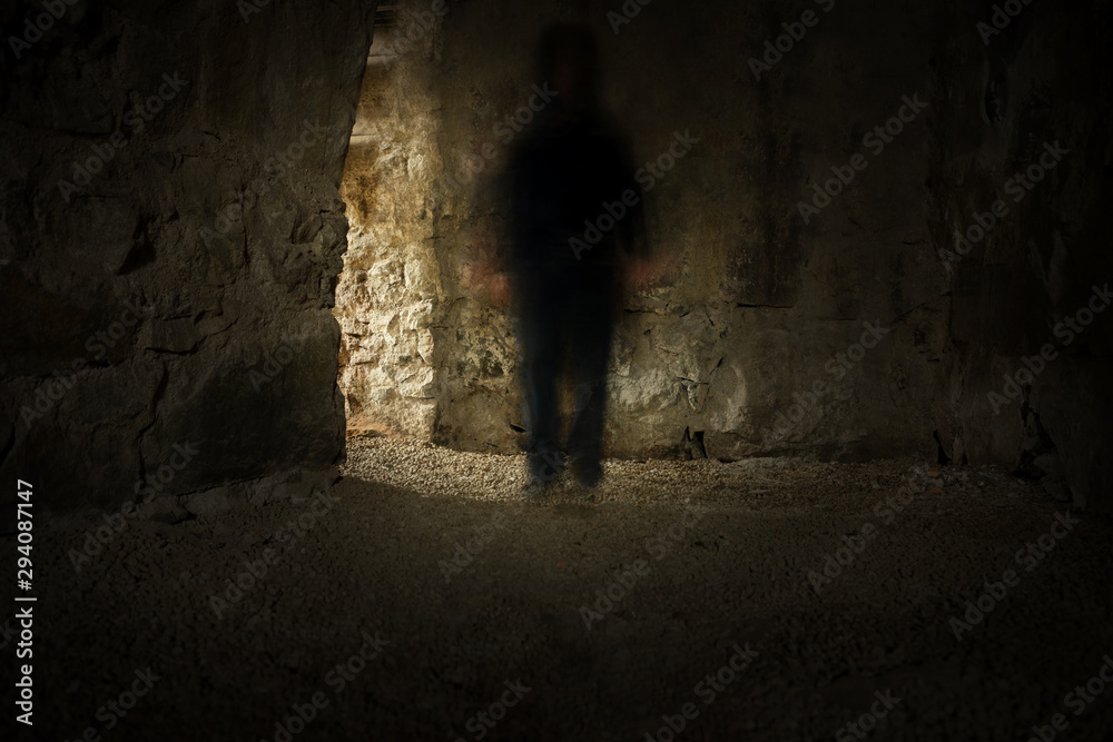 Fototapety, obrazy: Spooky tunnel or basement with dark blurred ghost in dimmed light