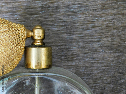 Photo Close up of an antique perfume bottle top with diffuser