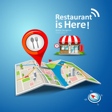 Folded Maps Vector With Red Color Point Markers, Restaurant Is Here Design Background, Illustration