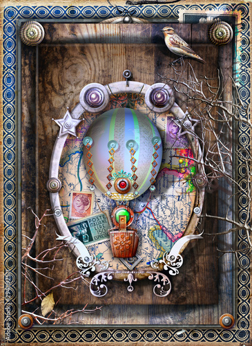 Poster Imagination Old fashioned background with hot air balloon, gothic frame and ancient carts