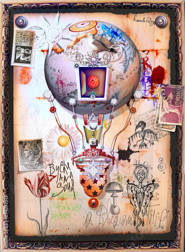 Poster Imagination Steampunk hot air balloon with old stamps and occult and mysterious symbols