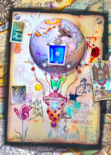 Poster Imagination Fantastic and steampunk hot air balloon with tarot cards and symbols