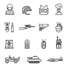 Army And Military Icon Set Wit...
