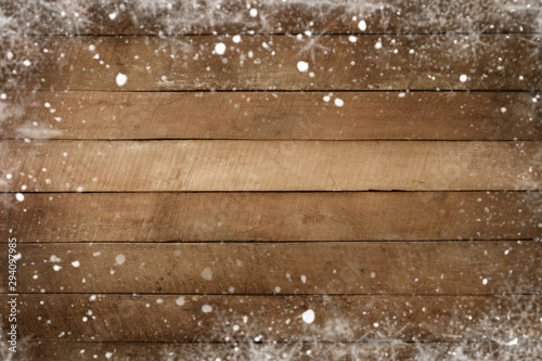 Christmas background - Old wood plank texture with snow frame Fototapet