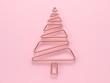 Leinwanddruck Bild pink wall flat pink scene abstract christmas tree 3d rendering