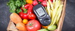Leinwanddruck Bild - Glucometer with fresh vegetables as source minerals and vitamins. Diabetes, healthy lifestyles and dieting
