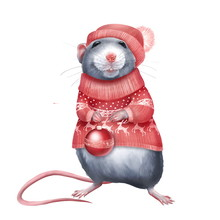 Cute Rat In Red Sweater Holding A Christmas Ball