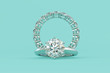 canvas print picture - Solitaire round cut diamond engagement ring, eternity ring on turquoise background