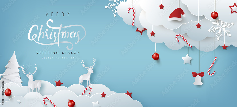 Fototapeta Winter christmas composition in paper cut style.Merry Christmas text Calligraphic Lettering Vector illustration.