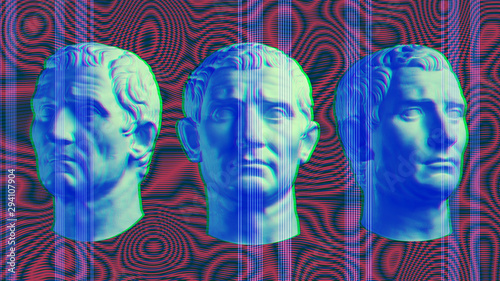 Contemporary art concept collage with antique statue head in a surreal style Wallpaper Mural