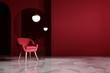 Red room interior design. 3d rendering