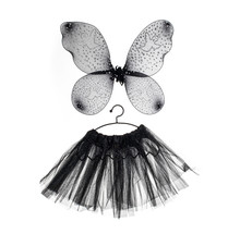 Butterfly Kids Dance Wear, Ballerina Tutu Mini Skirt And Butterfly Wings, New Black Costume For Little Girls, Close Up And Isolated On White Background