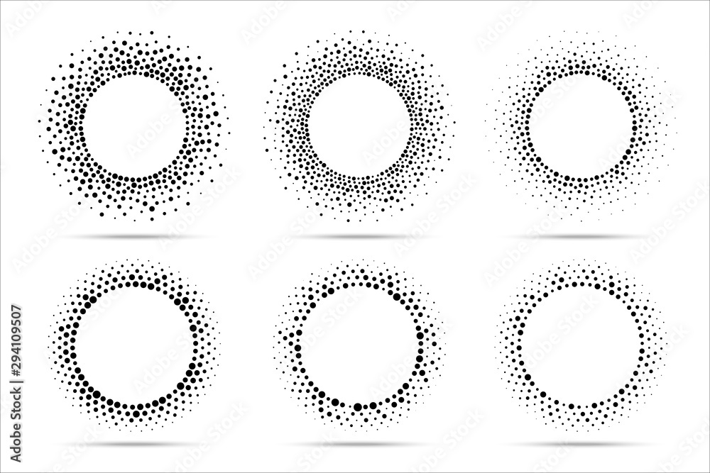 Halftone vector circular dotted frames set. Circle dots isolated on the white background. Logo design element for medical, treatment, cosmetic. Round border using halftone circle dots texture.